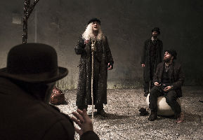 Rory Nolan as Pozzo, Garrett Lombard as Lucky, Mary Rea as Vladimir and Aaron Monaghan as Estragon in